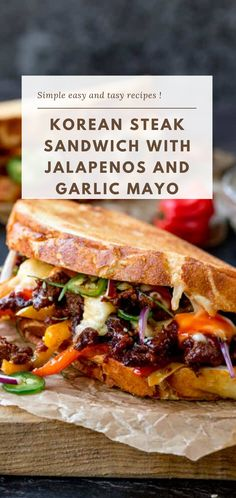This Korean Steak Sandwich with Jalapenos and Garlic Mayo is roll-your-eyes-in-your-head amazing! Marinated rib eye steak and a kick of chilli heat! Monte Cristo Sandwich, Hamburgers, Antipasto, Garlic Mayo, Asian, Tasty, Delicious Food, Mayo Sandwich, Gourmet