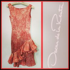 Oscar de la Renta 2,600.00 red print party dress w/flamenco ruffles sz. XS; RR Price: 365.00  http://resaleriches.mybisi.com/product/odlrruffledress