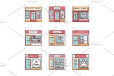 City shops and stores buildings by Iconicbestiary on @creativemarket