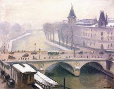 The Athenaeum - The City in the Snow (Albert Marquet - ) Henri Matisse, Great Paintings, Landscape Paintings, Rio Sena, Paris Art, 2d Art, Art Plastique, Snow, City