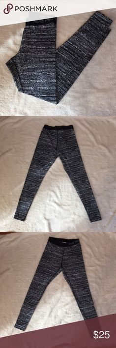 Nike Pro Leggings Nike Pro full length leggings with black and gray and white pattern, black elastic waste with Nike Pro logo, only worn once or twice, in perfect condition! Nike Pants Leggings