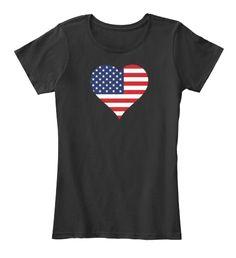 American Heart Flag Usa Black T-Shirt Front Usa Shirt, Flag, American, Heart, Mens Tops, Shirts, Fashion, Moda, Fashion Styles