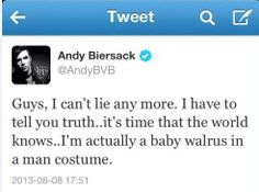 I knew it! - Andy Biersack - Black Veil Brides - funny tweet