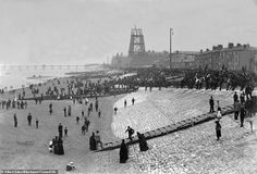 Never-before-seen shots show Blackpool Tower being built 125 years ago Blackpool Promenade, Blackpool Beach, Blackpool England, Shot Show, Tower Building, Paris Eiffel Tower, Beach Scenes, Historical Pictures, The Good Old Days