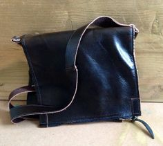Dark brown leather fold over cross body purse by kozol on Etsy, $24.99