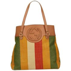 Preowned Gucci Multicolor Striped Canvas Handbag (29,675 INR) ❤ liked on Polyvore featuring bags, handbags, canvas man bag, multicolor handbags, hand bags, brown handbags and brown purse