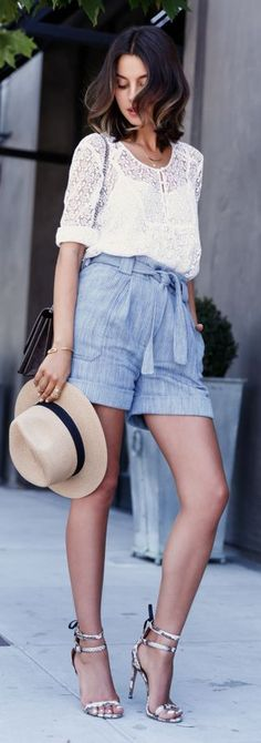 Light Blue Cotton-silk High Waisted Shorts by Vivaluxury