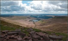 Beautiful valley from way up high in the mountains of Powys, Wales