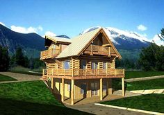 Elevation of Log--wrap around porch and smaller porches are a plus