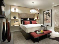 tête de lit avec rangement, chambre à coucher, décoration asiatique