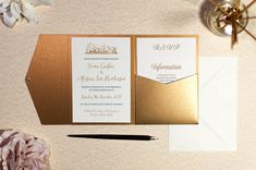 Lochgreen House Hotel Wedding Invitation in Antique Gold Pocketfold Wallet Wedding Invitation Size, Embossed Wedding Invitations, Pocketfold Invitations, Reception Invitations, Winter Wedding Invitations, Lodge Wedding, Hotel Wedding, How To Make Invitations