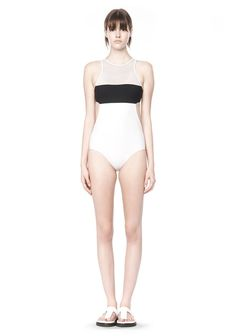 T by ALEXANDER WANG MESH COMBO ONE PIECE SWIMSUIT