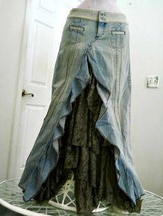 Guess ruffled taupe lace jean skirt Renaissance Denim Couture vintage funky boho fairy goddess mermaid belle bohémienne