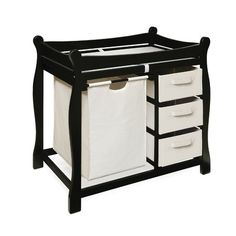 Viv + Rae Ocean Alexander Sleigh Style Baby Changing Table with 3 Baskets and Hamper Finish: Black