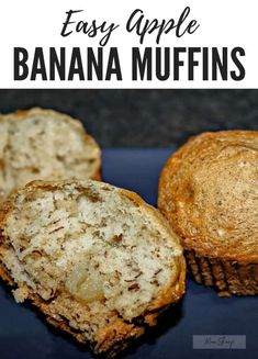 Easy Super Moist Banana Apple Muffins are delicious, moist, perfect day or night and better yet, a great way to use up ripe fruit! Apple Banana Muffins, Banana Walnut Muffins Easy, Healthy Banana Muffins, Apple Muffins Gluten Free, Breakfast Snacks, Breakfast Smoothies, Banana Recipes, Muffin Recipes, Kid Muffins