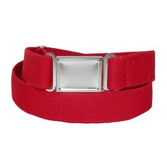 CTM Kids' Elastic Stretch Adjustable Belt with Magnetic Buckle, Red. Kids Adjustable Elastic Magnetic Buckle Belt by CTM®. Elastic. Magnetic buckle is easy on little fingers. Fits up to 30 inches. Solid colors are great for uniforms.