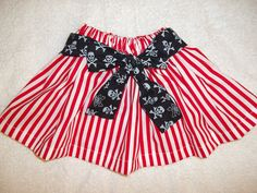 Possible Pirate costume for our 5 year old for Pirate night! Skirt dress up Halloween red stripe black Pirate Sash carnival circus clown Girls Newborn 3 6 9 12 18 24 m 2T 3T 4T 5 6 7 8. $19.50, via Etsy.