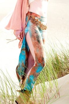 TIE DYE 70's gypsy dance double side slit wrap boho gypsy beach resort burning man festival dance maxi skirt