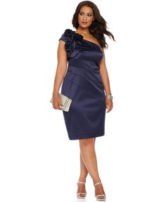 Jessica Simpson Plus Size Dress, Sleeveless One Shoulder Seamed Cocktail Dress