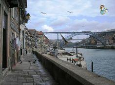 Vistas de la Ribeira de día, Porto, Portugal