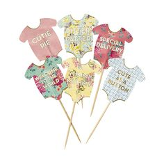 Show off your little baby shower cakes in style with our neat baby grow cake toppers.  Each pack contains 24 cake toppers in 12 vintage style baby grow design, an ideal gift for a mum to be.   The cake toppers feature lettering such as 'Bundle of Joy', 'Welcome to the world' and 'Yummy Mummy'.    Little Boo-Teek - Talking Tables Online   Talking Tables Truly Baby Cake Toppers   Party Supplies