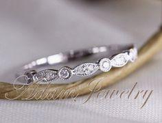Art Deco Half Eternity Diamonds Band 14k White Gold Wedding Ring/ Band Promise Ring/ Diamonds Ring/ Engagement Ring