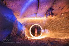 Steel Wool in Cave by RubyWind. @go4fotos