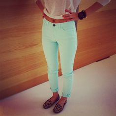 Colored jeans and loafers