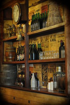 Stock: Historic vintage old tavern bar back wall with glass bottles, lamps, glasses and barrels. Rules: - Can use within DeviantART as resource for the creation of another piece of artwork. t - Ple...