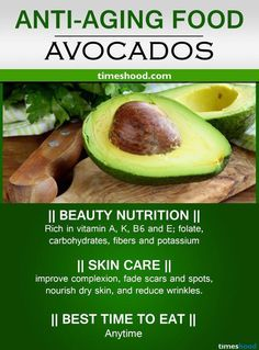 Avocados for anti-wrinkles skin. Best anti-aging food for skin care. Reduce wrinkles and dark spot, slows aging. Best anti-aging food tips. Foods For Healthy Skin, Health And Nutrition, Healthy Eating, Healthy Recipes, Clean Eating, Food For Glowing Skin, Athlete Nutrition, Natural Health Remedies, Best Anti Aging