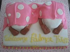 Twin Butt cake - This is one of my recent cakes. i made this for twins baby shower. it was lots of fun making this. the feet actually was pretty easy.