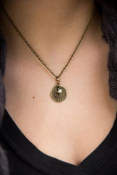 "Antique Brass18"" Necklace, delicate textured organic round leaf charm accented with a simple pearl bead"