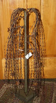 "28"" Primitive Country Burgundy & Rustic Metal Stars Willow Tree...I have these..nice decorating fillers"