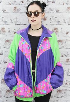 Vintage+Windbreaker/+Shell+suit+bomber+Jacket.+80s.+Festival