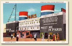 """Postcard of the """"Streets of Paris"""" attraction at the Chicago World's Fair, 1933/34"""