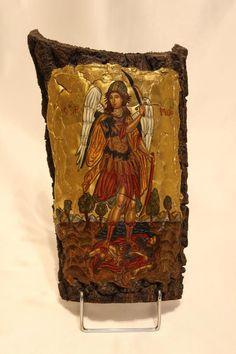 Handmade religious icon of Archangel Michael in real beech tree wood. Informationen zu Items similar to Handmade religious icon.