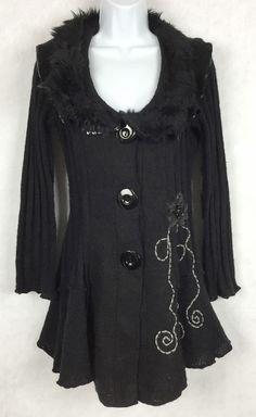 SIONI Womens Black Long Sweater Jacket BLACK Cardigan SZ L Studs