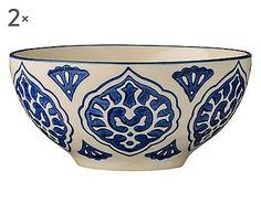 Set di 2 ciotole in stoneware Moroccan bianco/blu, 6x13 cm