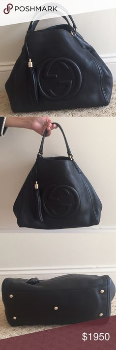 Gucci Soho Medium Hobo Bag Black leather, gold hardware. Worn a couple of times. Two small marks inside the bag (see pic), otherwise perfect condition! Down sizing and getting rid of all my designer goodies. No trades and no low ball offers please. Gucci Bags Hobos