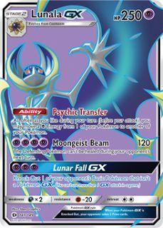 Lunala GX Sun and Moon Pokemon Card