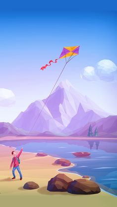 The kite colors really pop against the blue sky in this carefully composed landscape. T.P. (my-best-kite.com)