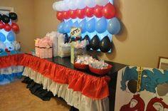 Table skirt and balloon backdrop