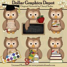 Little Owls - School Days - Clip Art