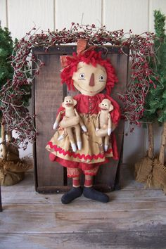 PriMiTiVe Raggedy Ann Art Doll and Sock Monkey Baby Doll Set of Three ofg hafair ab4b