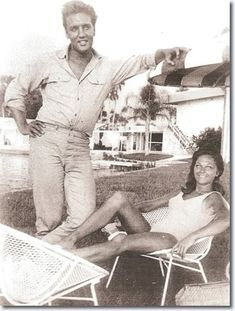 Elvis Presley and co-star Ann Helm at Port Paradise Hotel in Crystal River after shooting the movie scenes all day at Yankeetown. Summer 1961