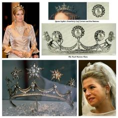 The Pearl Button Tiara and the Star Tiara-the Pearl Button Tiara is a thin diamond band adorned with five pronts with detachable diamonds and pearl clusters; The Star Tiara is a variation created for then Maxima Zorrieguieta at the time of her 2001 wedding, using the Pearl Button Tiara and adding five of Queen Emma's Diamond Stars.  Maxima also wore the tiara to the royal weddings of Princess Märtha Louise of Norway and Crown Prince Frederik of Denmark.