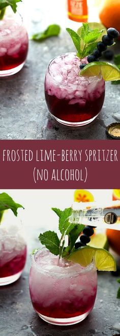 Limonade mit Sprudel und Blaubeersirup selbstgemacht - ohne Alkohol - perfekt für Kinder *** A delicious sparkling water - frosted lime berry with no alcohol. Perfect for kid's parties or a baby shower!
