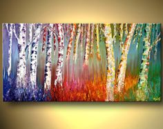Acrylic Painting Silver Birch Forest Colorful Blooming Trees Landscape Original Palette Knife Modern Fine Art by Osnat MADE-TO-ORDER
