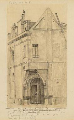 Porte de la maison dite de la Reine Blanche, rue Boutebrie, 5ème arrondissement, Paris.   Paris Musées