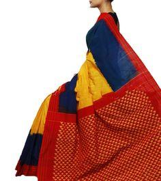 Handwoven double ikat saree in mercerized cotton. Yarn count : 2/120 x 2/120 Code: ISB6020 Write to ikkatsareesbangal... . Contact : +918792177606 www.facebook.com/ikkatsareesbangalore Pinned from